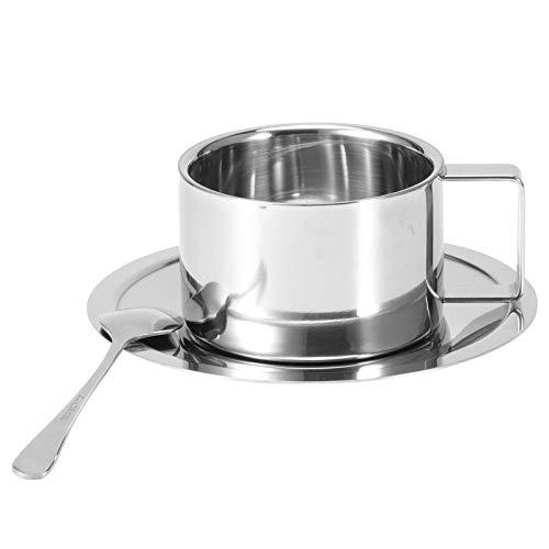 Taza de café - 3 piezas/juego 304 Taza de café de acero inoxidable Taza de café de doble pared Juego de plato de cuchara Suministros de cocina