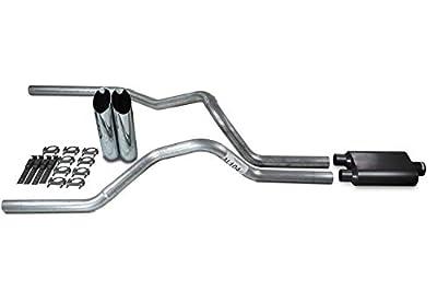 "Truck Exhaust Kits - Shop Line dual exhaust system 2.5 AL pipe 2 chamber Muffler 2.5"" With Slash Cut Chrome Tips for Silverado, Sierra, F-Series,& Ram"
