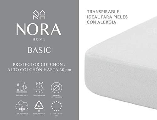 NORA HOME Protector de colchón Impermeable, 100{55e531903d0988f319209612da5800a6b6f81f4dde30c1cb79865a222732c642} algodón, Transpirable, hipoalergénico y antiácaros (60 x 120 cm (Cuna))