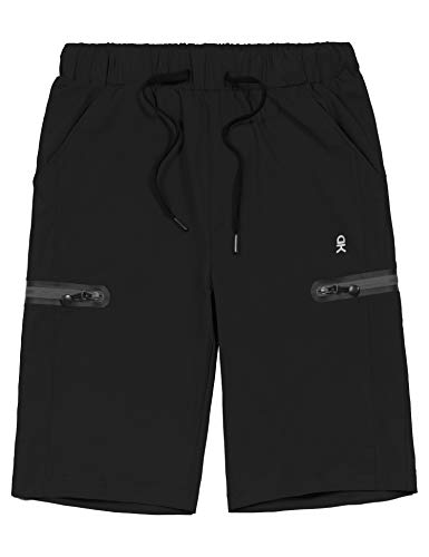 Little Donkey Andy Men's Ultra-Stretch Quick Dry Lightweight Bermuda Shorts Drawstring Zipper Pocket Hiking Travel Golf Black L