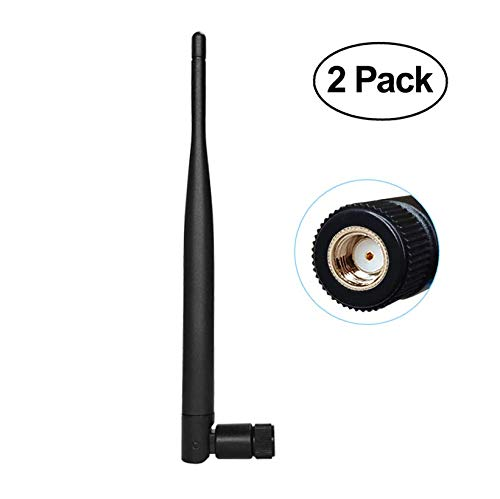 Wireless Antenna - 6dBi 2.4GHz Single Band WiFi Antenna, Boost Bluetooth Audio Range, Adopt for Home Office Wireless Network Router/IP Camera/Wireless Range Extender - 2 Pack (RP-SMA Male)