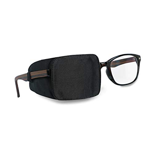Astropic Silk Eye Patch for Adults Kids Glasses to Cover Either Eye (Pure Black)