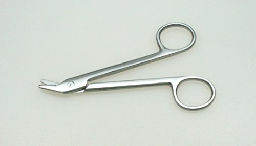 Suture Wire Cutting Scissors 4.75' Angled, Serrated - SurgicalExcel