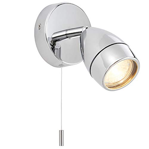35W GU10 | IP44 Badrum taklampa | Kromplatta och klar glasskärm | Fuktbeständig modern rund oval lampa | köksö bänkskiva/butik kommersiell | dragkabelbrytare