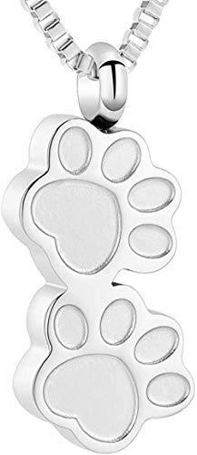 Collar de urna con estampado de pata para cenizas, soporte de recuerdo de acero inoxidable, cenizas para mascota, colgante humano, medallón, joyería de cremación conmemorativa-Plata