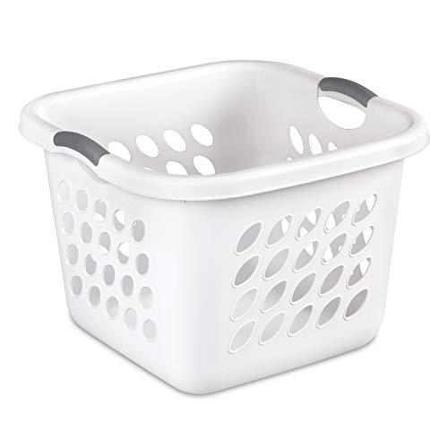 Sterilite 12178006 1.5 Bushel/53 Liter Ultra Square Laundry Basket, White Basket w/ Titanium Inserts, 6-Pack