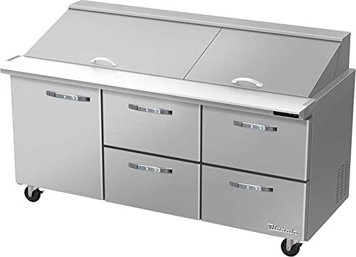 Blue Air BLMT72-D4RM-HC 4 Drawer 1 Left Door 72 inches Mega Top Refrigerated Sandwich/Salad Prep Table, 20.2 cu. ft