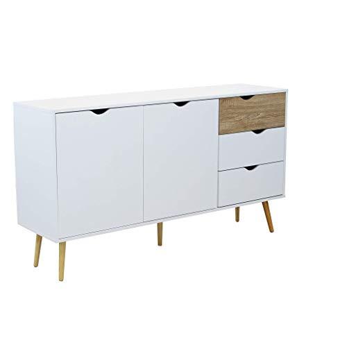 Credenza Mobile Madia Moderna in Legno Colore Bianco di Design Moderno Stile Minimalista, Cm 147 X 39 X 82 H