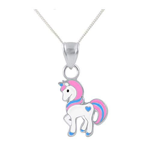 FIVE-D Set Kette Kinder Anhänger Einhorn Pferd Herz 925 Silber im Schmucketui Kette: 36 am (Pink)