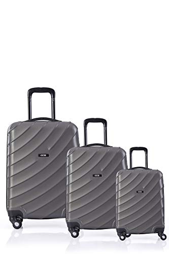 CCS 4 Wheels Suitcase Luggage Trolley Carry On Hand Hard Shell Travel Bag Lightweight (3pcs Set, Anthracite Grey)
