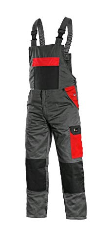 CANIS CXS Phoenix Cronos Arbeitslatzhose Professionelle Latzhose Herren Schutz für Monteur Gärtner Damen Hose für Mechaniker mit Klettverschlusstaschen Cargotaschen; grau mit rot (48)