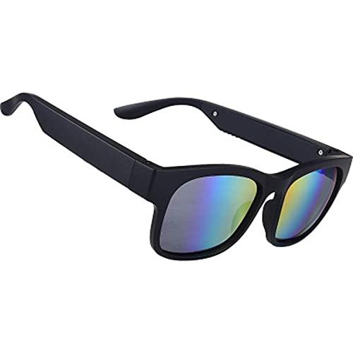 Legiomi Gafas de sol inteligentes con Bluetooth, con función de conducción ósea, con funciones como llamadas, escuchar música, filtro de luz azul, luz polarizada, etc. Negro