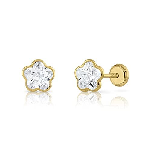 Pendientes Oro/Niña/Mujer. Circón flor. Cierre de seguridad a rosca. Medida 7.5 mm (1-7569-7)