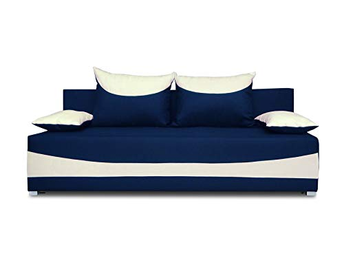 Schlafsofa NATI - Klappsofa mit Bettkasten, Sofa mit Schlaffunktion, Bettsofa, Schlafcouch, Couch, Couchgarnitur, Sofagarnitur, Kinderzimmer (Dunkelblau + Ecru (Neo 19 + Neo 01))