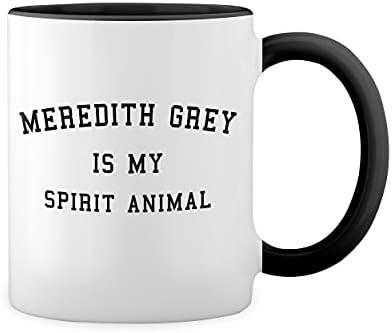 Meredith Grey Is My Spirit Animal Inspired By Greys Anatomy Witte koffiemok met zwarte rand Handle Mug