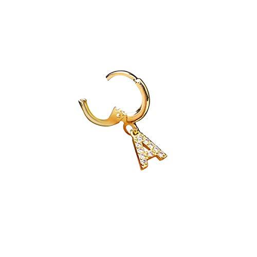 SOQNVLN Pendientes de joyería para mujer, 1 pieza de moda para mujer, circonita cúbica, letras incrustadas, clip de aro, joyería dorada S