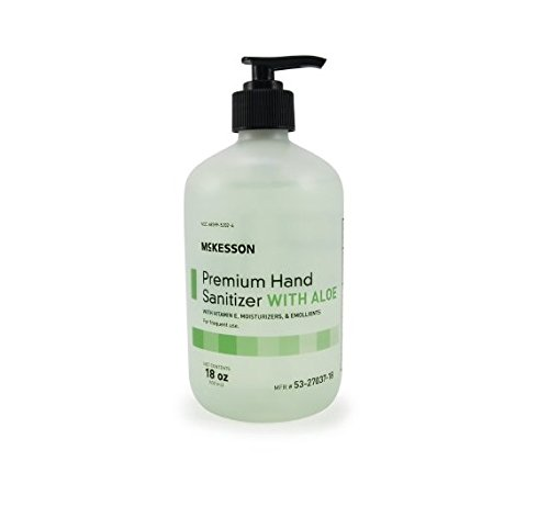 McKesson 53-27037-18 Premium Hand Sanitizer with Aloe and Spring Water Scent, 18oz Bottle with Pump (Pack of 12)