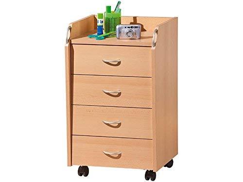 Inter Link Rollcontainer Bürocontainer Rollschrank Schubladenkommode Büroschrank KF-Board Buche...