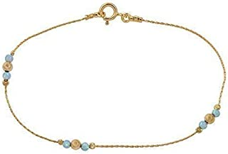"""Ankle bracelet Jewelry blue opal stone gold filed chain Beach anklet Length 8.5"""" + 2"""" extension"""