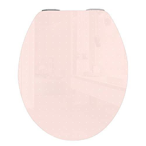 WC Deckel mit Absenkautomatik, stabile Qualität - einfache Montage WC Deckel Klobrille, MDF HOLZ SOFT CLOSE, Pastell Rosa Punkte