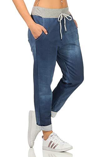 Sockenhimmel Freizeithose leichte Rehahose Damen angenehme Jogginghose Jeans Optik Damenhose Jogpants (36-38, Blau)