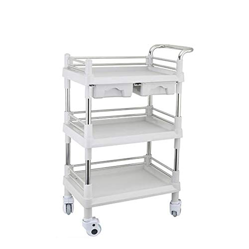 BCGT Rollen Trolley Cart, 3-Tier Mehrzweckwagen mit Abfall und 2 Drawe, Fach-Speicher Wagen mit Easy Räder bewegen, for Beauty Spa Home Bad Multi-Function (Size : Large)