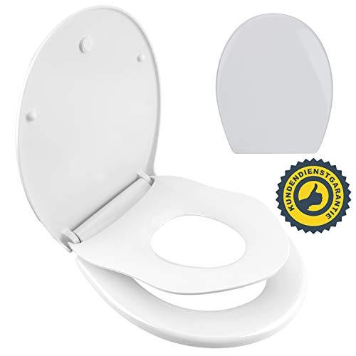 WC Sitz Toilettendeckel Oval Klodeckel mit Softclose Kinder Toilettensitz mit Quick-Release WC Deckel Family Duroplast Toiletten Klobrille Weiß