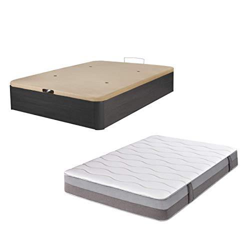 DHOME Pack Canape abatible tapizado 3D Madera + Colchón viscografeno, Reversible Conjunto (150x200 Ceniza, 30mm + Colchón)