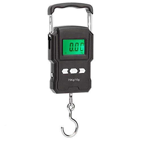 Báscula de cocina digital Mini balanza de pesca electrónica gancho balanza electrónica para equipaje de pesca cocina de viaje pesaje balanza de gancho electrónico portátil rango 10g a 75 kg