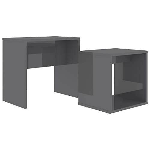 pedkit Coffee Table Set, Nest of 2 Side Tables Bedside Tables Morden Sofa Table, for Living Room, Bedroom or Office High Gloss Grey 48x30x45 cm Chipboard