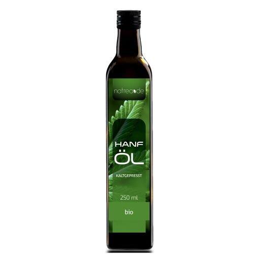 Natrea Bio Hanföl rein nativ | kaltgepresst aus 1. Pressung ✔ 100% reines BIO-Öl ✔ in 250 ml Lichtschutzflasche (1 x 0,25 l)