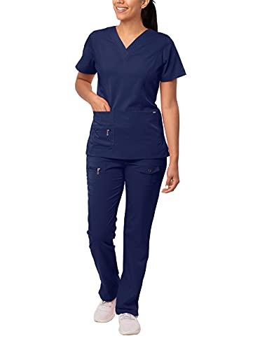 Adar Uniforme médico de Mujer Top Cuello en V Pantalones de Bolsillos múltiples - 4400 - Navy - XS