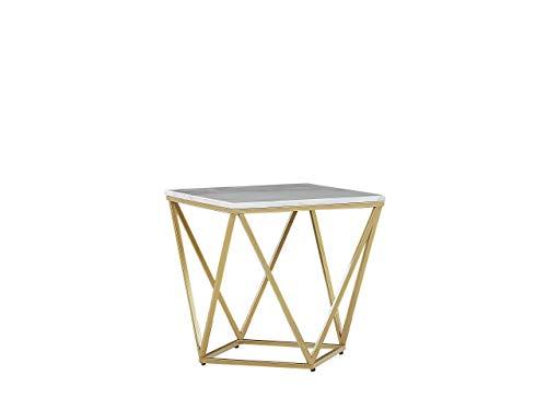 Beliani Tavolino da caffè Stile Geometrico Effetto Marmo Bianco e Oro Malibu