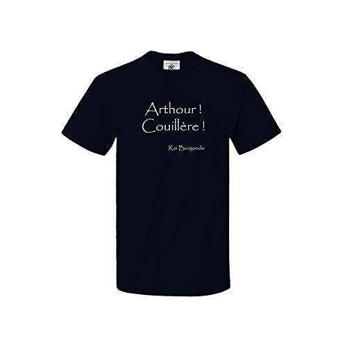 Mygoodprice T-Shirt col Rond Roi Burgonde Arthour Couillère Citation Kaamelott Bleu (Navy) M
