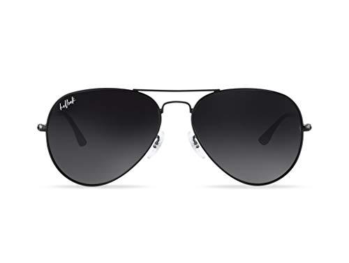 HELBEK ORVILLE | Gafas de Sol aviador. Ligeras y Resistentes - Protección UV400 + Lentes Polarizadas. [Negro]