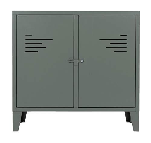 Cómoda verde de gris, 2 puertas de metal, estilo industrial Pop 8284