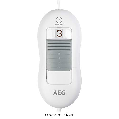 AEG FW 5645 - Calientapiés eléctrico, 3 niveles de temperatura, 100 W, color gris/ blanco
