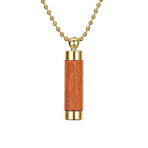 HooAMI[ホーアムアイ] 大容量 メモリアルペンダント 遺骨 カプセル ステンレス 木製カバー メンズ レディース ネックレス 43x10mm(ゴールド,オレンジ)