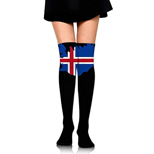 JAONGSADY Women's Knee High Compression Thigh High Socks Flag Of Iceland Map for Running Sport Long Stockings