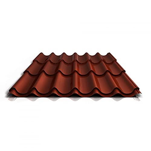 Pfannenblech   Ziegelblech   Dachziegelblech   Profil PA47/1060RTA   Material Aluminium   Stärke 0,70 mm   Beschichtung 25 µm   Farbe Rotbraun