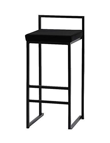 MYAOU Silla de Comedor de Terciopelo Sillas de mostrador de Metal con reposapiés y respaldos Bajos Taburetes de Bar Negros Muebles de Cocina de Hierro Forjado para el hogar