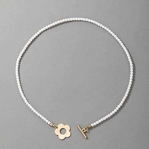 TTGE Collar Chino de clavícula de Piedra de Perlas de Lujo para Mujer, Collar de joyería de Verano de Fiesta Ajustable Hecho a Mano con encantos de Concha