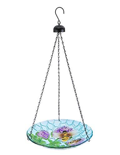 VCUTEKA Vogeltränke zum Aufhängen, Glas, Vogeltränke, für draußen, Vogelfutterhaus, Dekortation für Terrasse, Hof, Garten, 28 cm, Bienenmuster
