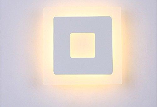 18 W Applique murale Square à chambre Art Gang Head Board Wall Lampe Square Chambre Art Gang Tête Weiß-20 × 20 Cm