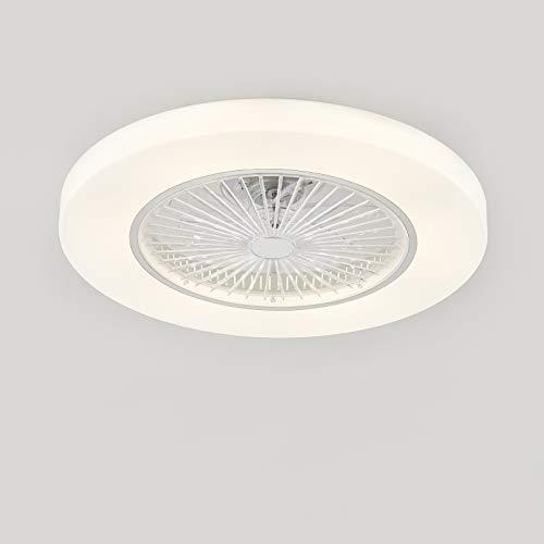 Ventilador de techo con lámpara, Ventilador de techo con luces LED, 3 Velocidades, 3 colores regulables, con control remoto, 36W Lámpara de techo para sala de estar del dormitorio ( Color : White )
