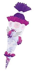 folia 92203 - Schultüten Bastelset Einhorn, inklusive Schultütenrohling aus 3D Wellpappe ca. 68 cm, Motivbögen und Bastelzubehör