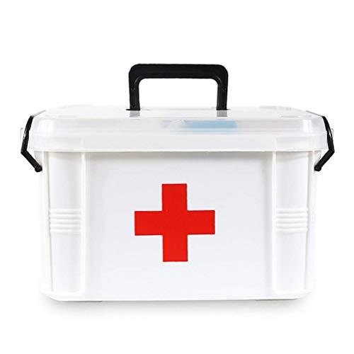 JINKEBIN Primeros auxilios Box La caja médica plástica, Doble Capa Médica de almacenamiento de contenedores primero auxilios, kit de emergencia grande de almacenamiento de las misceláneas Caja