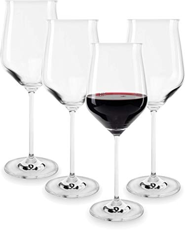 drinking glass for wine beers Circleware Wine Glasses, Set of 4 Beverage Glassware Drinking Cups for Water, Beer, Liquor, Whiskey 22 oz Chantal-Merlot