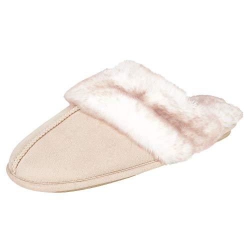 Jessica Simpson Women's Comfy Faux Fur House Slipper Scuff Memory Foam Slip on Anti-Skid Sole, Ivory, Medium