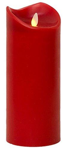 Tronje LED Kerze 23 cm Echtwachskerze inkl. Timer Ø 9,5 cm flammenlose LED-Leuchtkerze Rot flackernde Flamme